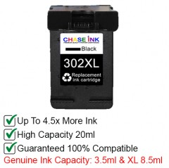 hp 302 / 302xl black - remanufactured hp ink cartridge (20ml)
