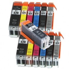Compatible Canon PGI-570 / CLI-571 Ink Cartridge Twin Pack (inc. Grey) + 1 FREE Black - 13 Inks (186ml)