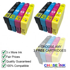 2 Sets (BCMY) + ANY 3 FREE - Compatible 29 XL High-Capacity Strawberry Ink Cartridges for Epson Printers