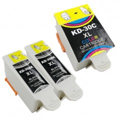 Compatible Kodak 30 XL - 2 Black & 1 Colour (66ml)