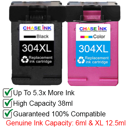HP 304XL Black/Tri-color - High Yield Remanufactured Ink Cartridges 2-Pack (38ml)