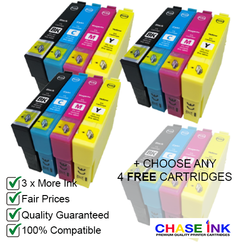 Compatible Epson 29XL - 3 Multipacks (BCMY) + Choose 4 FREE Cartridges